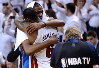 MIAMI, FL - JUNE 21:  Kevin Durant #35 of the Oklahoma City Thunder congratulates LeBron James #6 of the Miami Heat after the Heat won 121-106 in Game Five of the 2012 NBA Finals on June 21, 2012 at American Airlines Arena in Miami, Florida. NOTE TO USER: