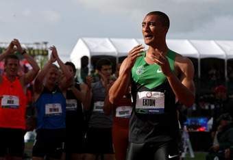 EUGENE, OR - JUNE 23:  Ashton Eaton reacts after breaking the world record in the men's decathlon after competing in the 1500 meter run portion during Day Two of the 2012 U.S. Olympic Track & Field Team Trials at Hayward Field on June 23, 2012 in Eugene,