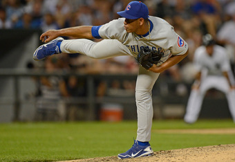 CHICAGO, IL - JUNE 19: Carlos Marmol #49 of the Chicago Cubs pitches in the 9th inning against the Chicago White Sox at U.S. Cellular Field on June 19, 2012 in Chicago, Illinois. The Cubs defeated the White Sox 2-1.  (Photo by Jonathan Daniel/Getty Images