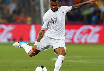 DONETSK, UKRAINE - JUNE 23:  Yann M'Vila of France crosses the ball during the UEFA EURO 2012 quarter final match between Spain and France at Donbass Arena on June 23, 2012 in Donetsk, Ukraine.  (Photo by Martin Rose/Getty Images)