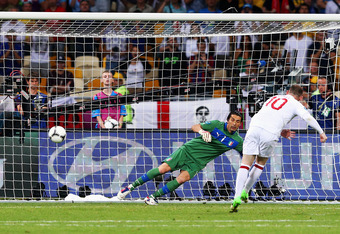 KIEV, UKRAINE - JUNE 24:  Wayne Rooney of England scores his penalty kick past Gianluigi Buffon of Italy during the UEFA EURO 2012 quarter final match between England and Italy at The Olympic Stadium on June 24, 2012 in Kiev, Ukraine.  (Photo by Alex Live
