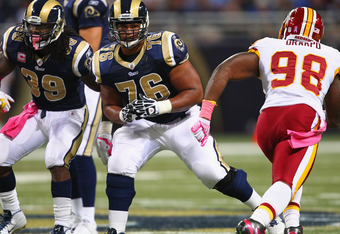 ST. LOUIS, MO - OCTOBER 02: Rodger Saffold #76 of the St. Louis Rams blocks against the Washington Redskins at the Edward Jones Dome on October 2, 2011 in St. Louis, Missouri.  The Washington Redskins beat the St. Louis Rams 17-10.  (Photo by Dilip Vishwa