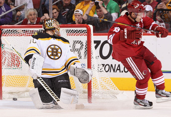 GLENDALE, AZ - DECEMBER 28:  Ray Whitney #13 of the Phoenix Coyotes scores a first period goal past goaltender Tuukka Rask #40 of the Boston Bruins during the NHL game at Jobing.com Arena on December 28, 2011 in Glendale, Arizona.  (Photo by Christian Pet