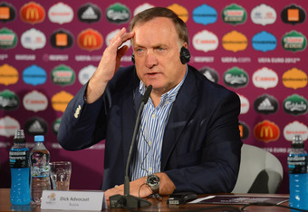 WARSAW, POLAND - JUNE 16:  In this handout image provided by UEFA Coach Dick Advocaat of Russia talks to the media during a press conference after the UEFA EURO 2012 Group A match between Greece and Russia on June 16, 2012 in Warsaw, Poland.  (Photo by Ha