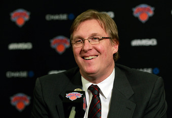 NEW YORK, NY - MARCH 14:  Glen Grunwald the New York Knicks Senior Vice President of Basketball Operations and Interim Manager announces Mike Woodson as the interim head coach of the New York Knicks following the resignation of Mike D'Antoni at Madison Sq