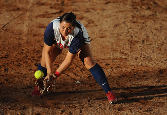 GUADALAJARA, MEXICO - OCTOBER 17:  Valerie Arioto of the United States of America catches a ball during the Softball Preliminary Round match between the United States of America and Venezuela during Day Three of the XVI Pan American Games at CODE Alcalde