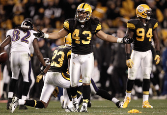 PITTSBURGH, PA - NOVEMBER 06: Troy Polamalu #43 of the Pittsburgh Steelers questions a penalty on the field against the Baltimore Ravens during the game on November 6, 2011 at Heinz Field in Pittsburgh, Pennsylvania.  (Photo by Jared Wickerham/Getty Image
