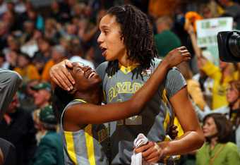 DENVER, CO - APRIL 03:  Brittney Griner #42 and Jordan Madden #3 of the Baylor Bears celebrate after they won 80-61 against the Notre Dame Fighting Irish during the National Final game of the 2012 NCAA Division I Women's Basketball Championship at Pepsi C