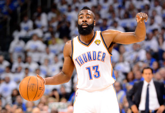 OKLAHOMA CITY, OK - JUNE 14:  James Harden #13 of the Oklahoma City Thunder calls out in the first half with the ball against the Miami Heat in Game Two of the 2012 NBA Finals at Chesapeake Energy Arena on June 14, 2012 in Oklahoma City, Oklahoma. NOTE TO