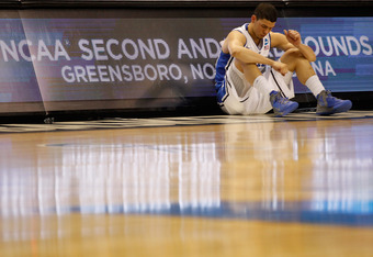 GREENSBORO, NC - MARCH 16:  Austin Rivers #0 of the Duke Blue Devils waits to check into the game in the first half against the Lehigh Mountain Hawks during the second round of the 2012 NCAA Men's Basketball Tournament at Greensboro Coliseum on March 16,