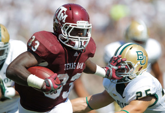 COLLEGE STATION, TX - OCTOBER 15: Christine Michael #33 of the Texas A&M Aggies runs during a game against the Baylor Bears at Kyle Field on October 15, 2011 in College Station, Texas.  (Photo by Sarah Glenn/Getty Images)