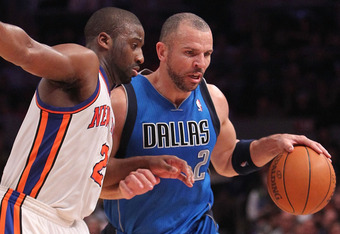 NEW YORK, NY - FEBRUARY 02:  Jason Kidd #2 of the Dallas Mavericks drives the ball against Raymond Felton #2 of the New York Knicks at Madison Square Garden on February 2, 2011 in New York City. NOTE TO USER: User expressly acknowledges and agrees that, b