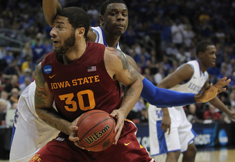 LOUISVILLE, KY - MARCH 17:  Royce White #30 of the Iowa State Cyclones moves against Terrence Jones #3 of the Kentucky Wildcats during the third round of the 2012 NCAA Men's Basketball Tournament at KFC YUM! Center on March 15, 2012 in Louisville, Kentuck