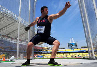 DAEGU, SOUTH KOREA - AUGUST 29: Lance Brooks of United States competes in the men's discus throw qualification during day three of the 13th IAAF World Athletics Championships at the Daegu Stadium on August 29, 2011 in Daegu, South Korea.  (Photo by Stu Fo