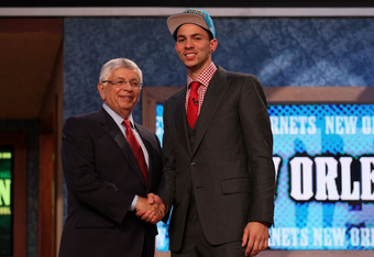 NEWARK, NJ - JUNE 28:  Austin Rivers (R) of the Duke Blue Devils greets NBA Commissioner David Stern (L) after he was selected number ten overall by the New Orleans Hornets during the first round of the 2012 NBA Draft at Prudential Center on June 28, 2012