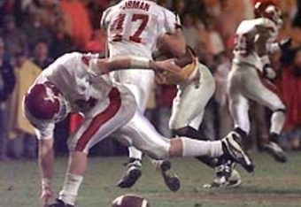 Clint Stoerner fumbles with under 2:00 to play / Photo Courtesy: Smokeys-Trail.com