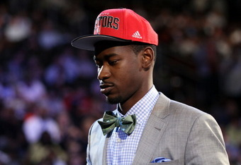 NEWARK, NJ - JUNE 28:  Terrence Ross (R) of the Washington Huskies walks on stage after he was selected number eight overall by the Toronto Raptors during the first round of the 2012 NBA Draft at Prudential Center on June 28, 2012 in Newark, New Jersey. N