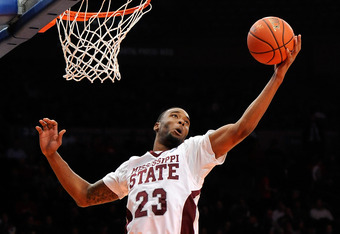 NEW YORK, NY - NOVEMBER 18:  Arnett Moultrie #23 of the Mississippi State Bulldogs rebounds the ball against the Arizona Wildcats at the 2K Sports Classic Benefiting Coaches Vs Cancer at Madison Square Garden on November 18, 2011 in New York City.  (Photo