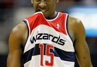 WASHINGTON, DC - FEBRUARY 08: Jordan Crawford #15 of the Washington Wizards walks up the floor during the closing moments of the Wizards game against the New York Knicks at Verizon Center on February 8, 2012 in Washington, DC.  NOTE TO USER: User expressl