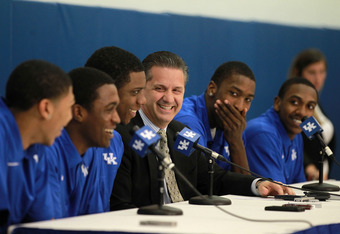 LEXINGTON, KY - APRIL 17:  Anthony Davis, Doron Lamb,Terrence Jones, John Calipari the Kentucky Wildcats, Michael Kidd-Gilchrist and Marquis Teague talks with the media during the news conference in which all five players announced  they will enter the NB