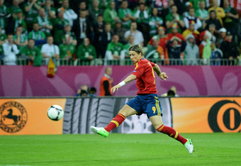 GDANSK, POLAND - JUNE 14: Fernando Torres of Spain scores their first goal during the UEFA EURO 2012 group C match between Spain and Ireland at The Municipal Stadium on June 14, 2012 in Gdansk, Poland. (Photo by Jasper Juinen/Getty Images)