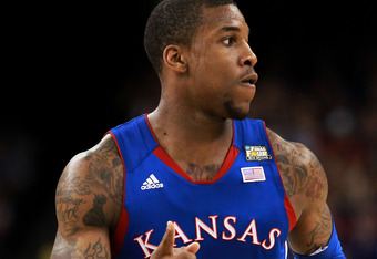 NEW ORLEANS, LA - APRIL 02:  Thomas Robinson #0 of the Kansas Jayhawks runs up the court during the National Championship Game of the 2012 NCAA Division I Men's Basketball Tournament against the Kentucky Wildcats at the Mercedes-Benz Superdome on April 2,