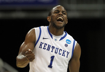 LOUISVILLE, KY - MARCH 17:  Darius Miller #1 of the Kentucky Wildcats reacts in the second half against the Iowa State Cyclones during the third round of the 2012 NCAA Men's Basketball Tournament at KFC YUM! Center on March 17, 2012 in Louisville, Kentuck