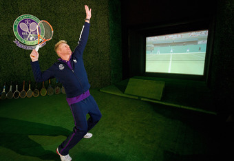 LONDON, ENGLAND - JUNE 20:  Former Men's Singles Champion Boris Becker demonstrates virtual tennis on Day One of the Wimbledon Lawn Tennis Championships at the All England Lawn Tennis and Croquet Club on June 20, 2011 in London, England.  (Photo by Pool/G