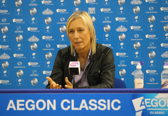 BIRMINGHAM, ENGLAND - JUNE 10:  Martina Navratilova pictured during a press conference during the fifth day of the AEGON Classic at the Edgbaston Priory Club on June 10, 2011 in Birmingham, England.  (Photo by Matthew Lewis/Getty Images)