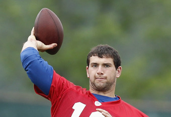 INDIANAPOLIS, IN - MAY 4: Andrew Luck #12 of the Indianapolis Colts works out during a rookie minicamp at the team facility on May 4, 2012 in Indianapolis, Indiana. (Photo by Joe Robbins/Getty Images)