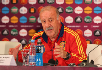 KIEV, UKRAINE - JUNE 30:  In this handout image provided by UEFA, Vicente del Bosque the coach of Spain talks to the media during a press conference ahead of the UEFA EURO 2012 final against Italy at the Olympic Stadium on June 30, 2012 in Kiev, Ukraine.