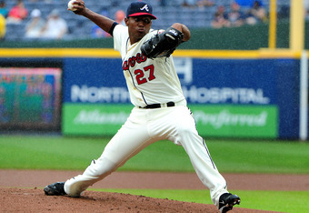 ATLANTA, GA - JUNE 10: Julio Teheran #27 of the Atlanta Braves pitches against the Toronto Blue Jays at Turner Field on June 10, 2012 in Atlanta, Georgia. (Photo by Scott Cunningham/Getty Images)