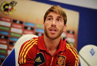 KIEV, UKRAINE - JUNE 29:  Sergio Ramos of Spain talks to the media during a press conference ahead of the UEFA EURO 2012 final match against Italy on June 29, 2012 in Kiev, Ukraine.  (Photo by Jasper Juinen/Getty Images)