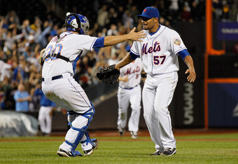 NEW YORK, NY - JUNE 01:  Johan Santana #57 of the New York Mets celebrates with Josh Thole #30 after pitching a no hitter against the St. Louis Cardinals at CitiField on June 1, 2012 in the Flushing neighborhood of the Queens borough of New York City. Joh