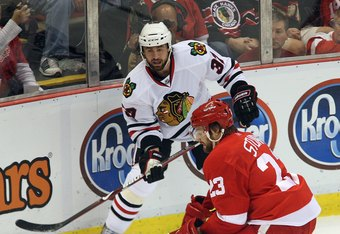 Adam Burish (top) and Brad Stuart (bottom) met in the 2009 Western Conference Finals and have each won Cups. Both will try to help San Jose do the same in 2013.