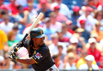 PHILADELPHIA, PA - JUNE 28: Andrew McCutchen #22 of the Pittsburgh Pirates during a MLB baseball game against the Philadelphia Phillies on June 28, 2012 at Citizens Bank Park in Philadelphia, Pennsylvania. (Photo by Rich Schultz/Getty Images)