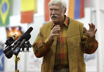 HUNTSVILLE, TX - JANUARY 26:  Bela Karolyi, Owner, Director of Facilities, Karolyi Ranch addresses the crowd on hand as his facility has been designated by the USOC as an USA Gymnastics National Training Center and Hilton's partnership  with USA Gymnastic