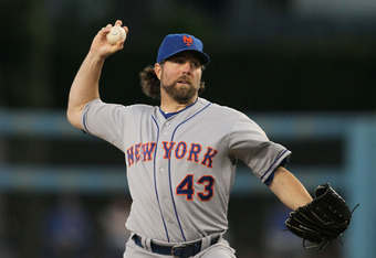 LOS ANGELES, CA - JUNE 29:  Starter R.A. Dickey #43 of the New York Mets pitches in the third inning during the MLB game against the Los Angeles Dodgers at Dodger Stadium on June 29, 2012 in Los Angeles, California.  (Photo by Victor Decolongon/Getty Imag