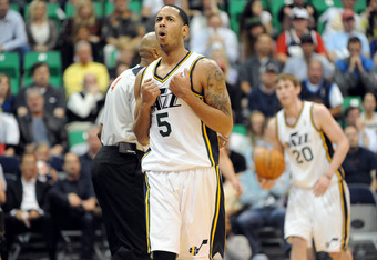 SALT LAKE CITY, UT  - MAY 5: Devin Harris #5 of the Utah Jazz reacts to being called for a foul during the fourth quarter of Game Three of the Western Conference Quarterfinals against the Utah Jazz in the 2012 NBA Playoffs at EnergySolutions Arena on May