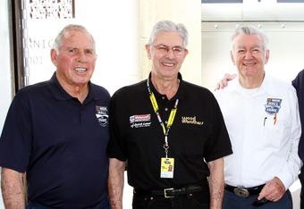 DAYTONA BEACH, FL - FEBRUARY 18:  (L-R) Hall of Famers David Pearson, Leonard Wood, Bobby Allison, Bud Moore, and Ned Jarrett pose in the garage area prior to practice for the NASCAR Sprint Cup Series Daytona 500 at Daytona International Speedway on Febru