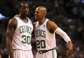 BOSTON, MA - JUNE 01:  (L-R) Brandon Bass #30 and Ray Allen #20 of the Boston Celtics talk on court against the Miami Heat in Game Three of the Eastern Conference Finals in the 2012 NBA Playoffs on June 1, 2012 at TD Garden in Boston, Massachusetts.  NOTE