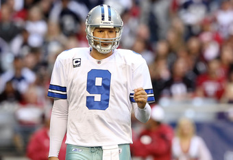 GLENDALE, AZ - DECEMBER 04:  Quarterback Tony Romo #9 of the Dallas Cowboys during the NFL game against the Arizona Cardinals at the University of Phoenix Stadium on December 4, 2011 in Glendale, Arizona. The Cardinals defeated the Cowboys 19-13 in overti