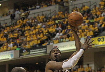 INDIANAPOLIS, IN - MAY 24:  Roy Hibbert #55 of the Indiana Pacers shoots against Joel Anthony #50the Miami Heat in Game Six of the Eastern Conference Semifinals in the 2012 NBA Playoffs at Bankers Life Fieldhouse on May 24, 2012 in Indianapolis, Indiana.T