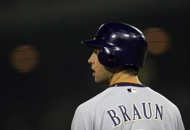 LOS ANGELES, CA - AUGUST 16:  Ryan Braun #8 of the Milwaukee Brewers looks on from third base during their MLB game against the Los Angeles Dodgers at Dodger Stadium on August 16, 2008 in Los Angeles, California. The Brewers defeated the Dodgers 4-3 in 10