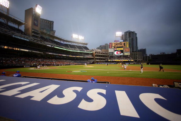 SAN DIEGO - MARCH 19: A general view of Petco Park from behind Team Korea's dugout as they play against Japan during the 2009 World Baseball Classic Round 2 Pool 1 Game 6 on March 19, 2009 at Petco Park in San Diego, California.  (Photo by Donald Miralle/