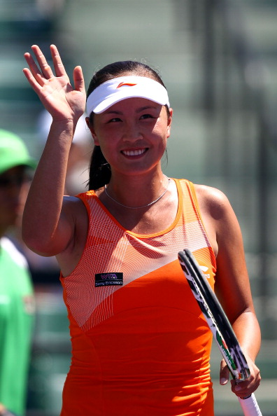KEY BISCAYNE, FL - MARCH 26:  Shuai Peng of China celebrates after she won her match against Svetlana Kuznetsova of Russia during the Sony Ericsson Open at Crandon Park Tennis Center on March 26, 2011 in Key Biscayne, Florida.  (Photo by Clive Brunskill/G