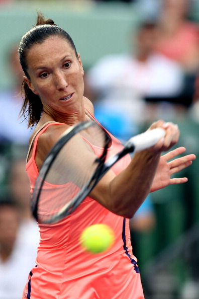 KEY BISCAYNE, FL - MARCH 29:  Jelena Jankovic of Serbia hits a forehand return against Andrea Petkovic of Germany during the Sony Ericsson Open at Crandon Park Tennis Center on March 29, 2011 in Key Biscayne, Florida.  (Photo by Mike Ehrmann/Getty Images)