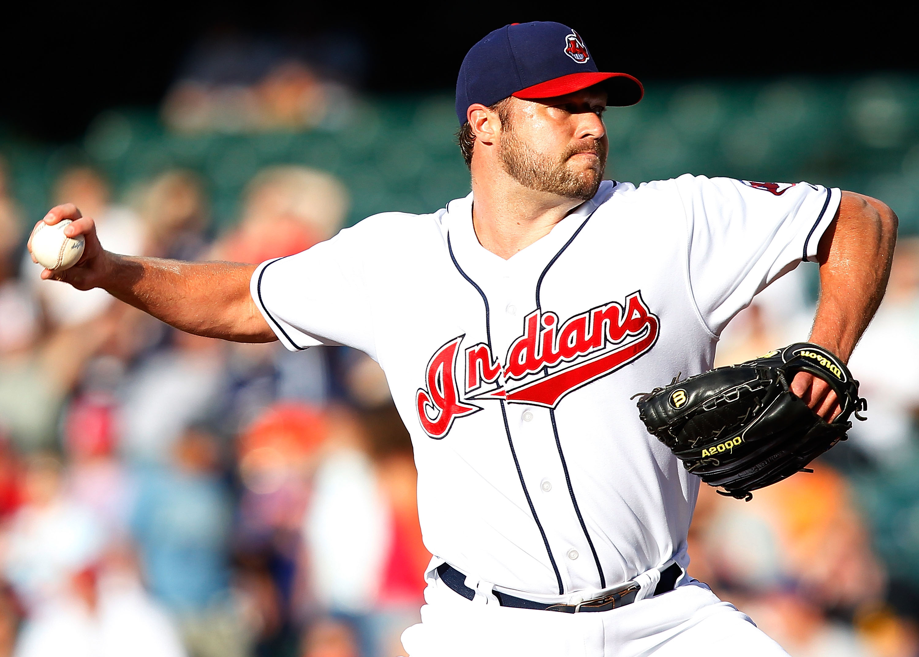 CLEVELAND - JUNE 17:  Jake Westbrook #37 of the Cleveland Indians pitches against the New York Mets during the game on June 17, 2010 at Progressive Field in Cleveland, Ohio.  (Photo by Jared Wickerham/Getty Images)
