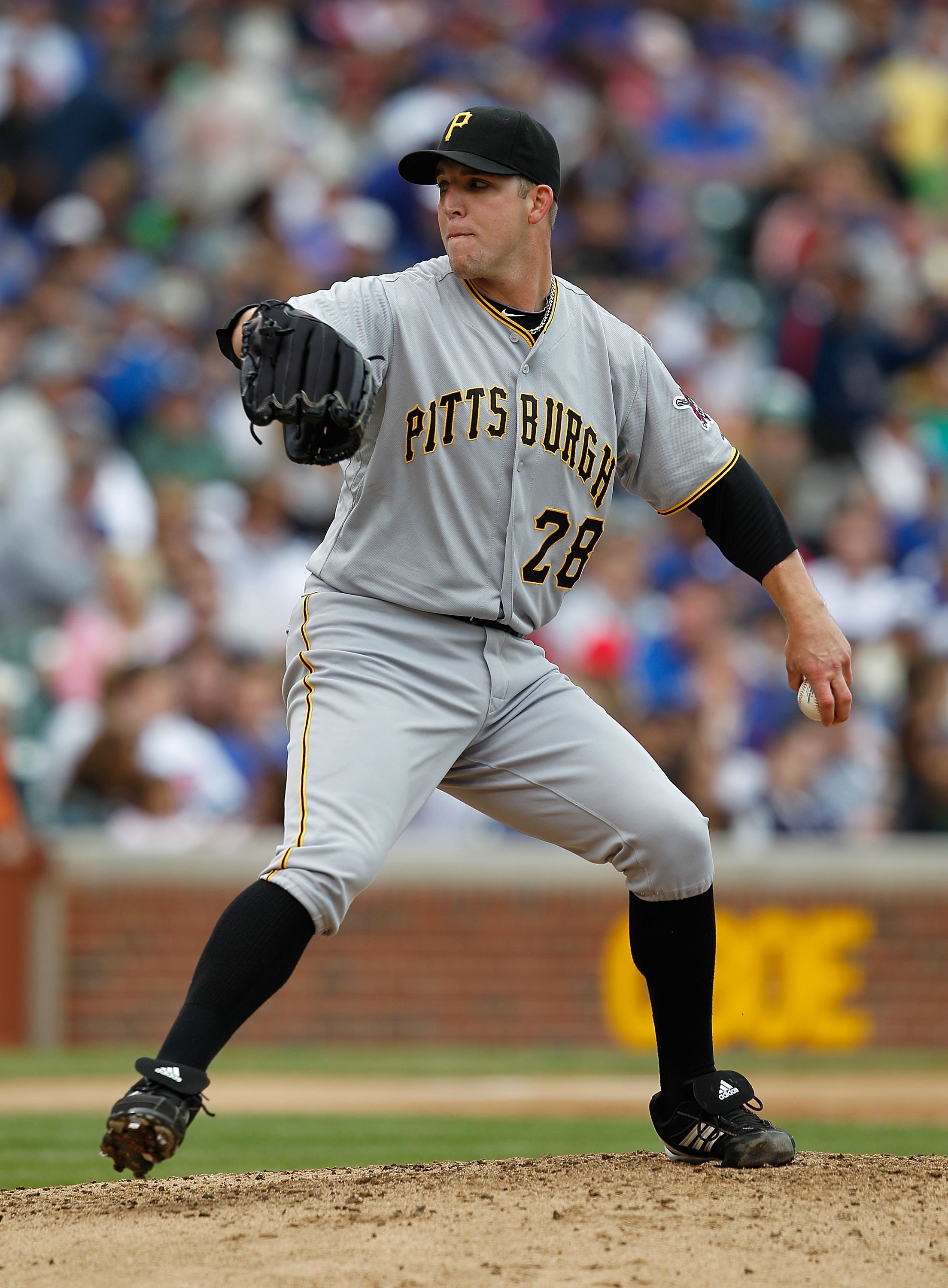 CHICAGO - MAY 15: Starting pitcher Paul Maholm #28 of the Pittsburgh Pirates delivers the ball against the Chicago Cubs at Wrigley Field on May 15, 2010 in Chicago, Illinois. The Pirates defeated the Cubs 4-3.  (Photo by Jonathan Daniel/Getty Images)