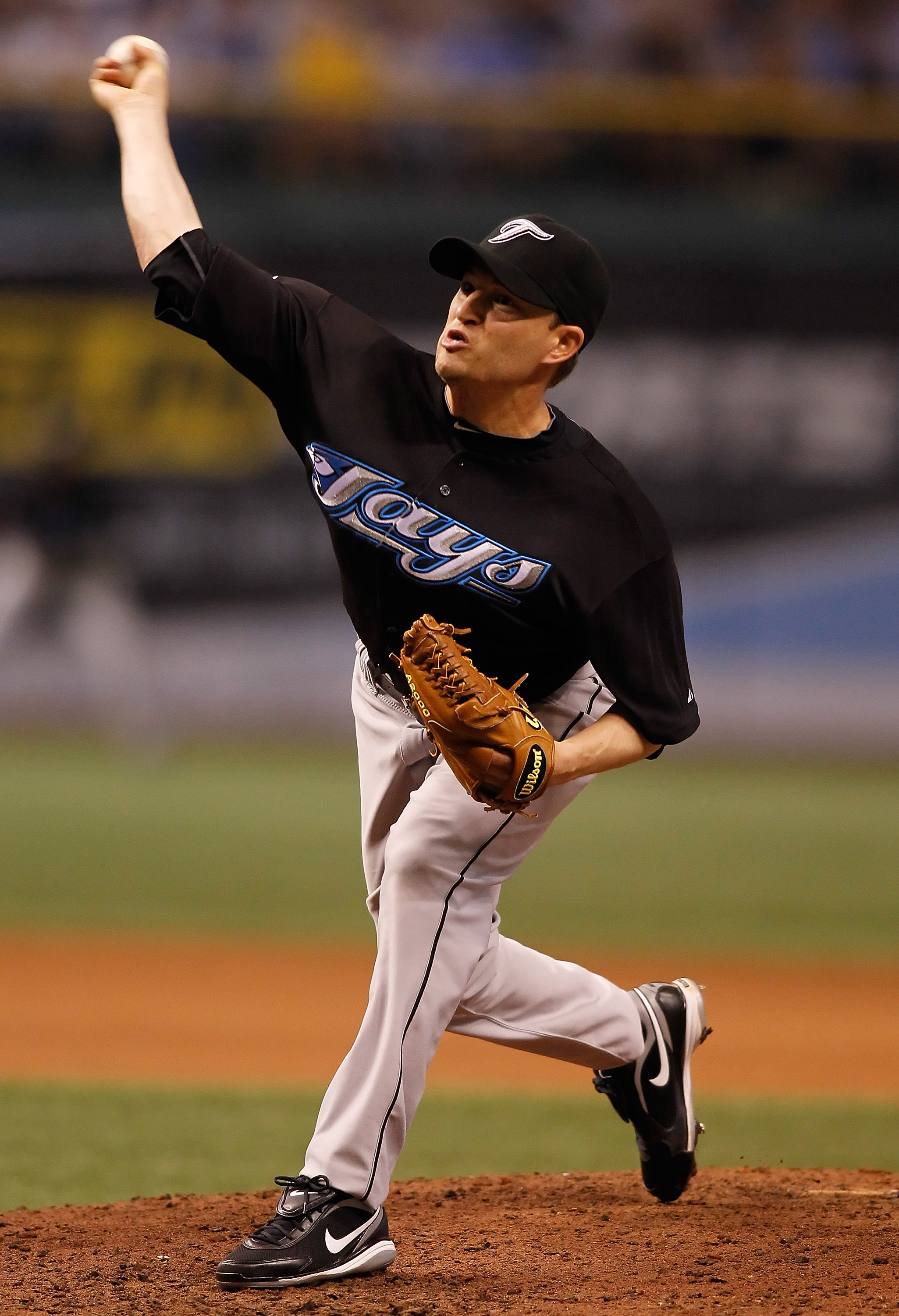 ST. PETERSBURG - APRIL 23:  Pitcher Jason Frasor #54 of the Toronto Blue Jays pitches against the Tampa Bay Rays during the game at Tropicana Field on April 23, 2010 in St. Petersburg, Florida.  (Photo by J. Meric/Getty Images)